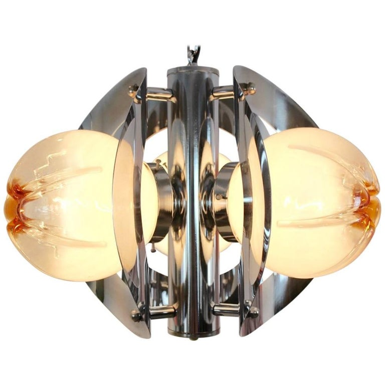 Geometric Chrome and Frosted Glass Chandelier by A.V. Mazzega For Sale