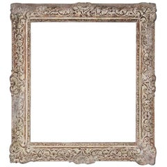 Vintage Rococo-Style Picture Frame with Whitewash