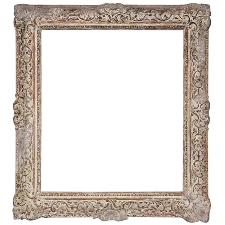 Vintage Rococo-Style Picture Frame with Whitewash For Sale