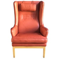 Vintage Arne Norell Mid-Century Modern Wing Chair in Pink Leather