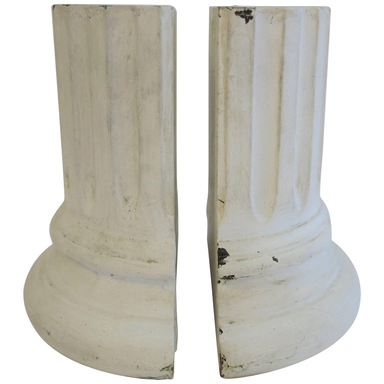 Pair of Vintage White Column Bookends