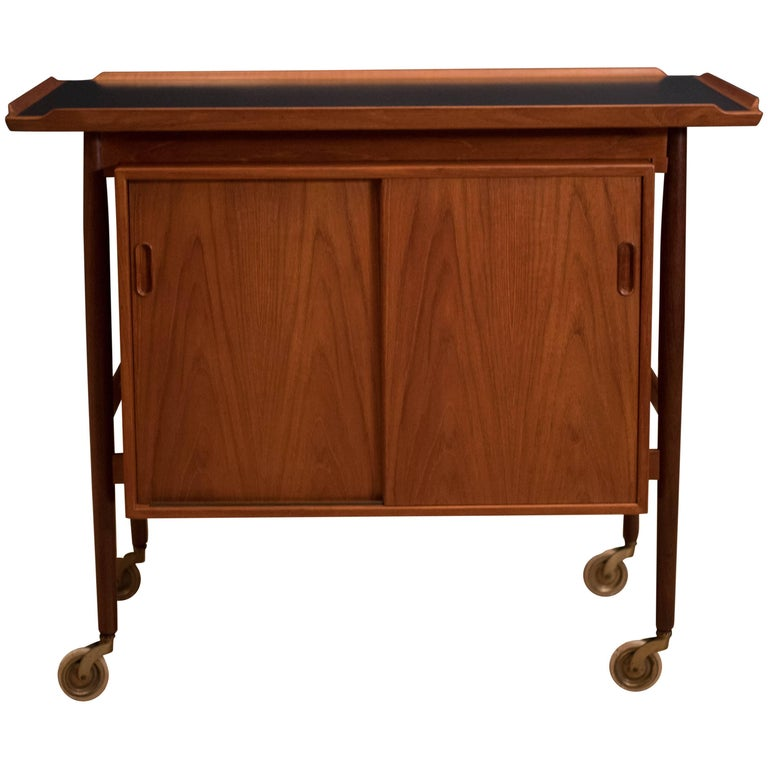 Scandinavian Teak Serving Bar Cart