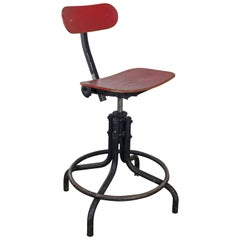 Red 1950s Industrial Stool