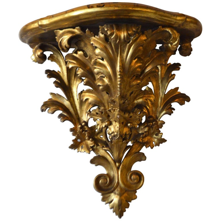 19th Century Wall Shelf Console, Hand-Carved and Gilded, Faux Marble Top