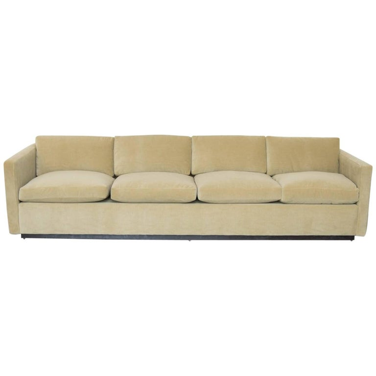 Donghia Mohair Mid Century Modern Tuxedo Couch For