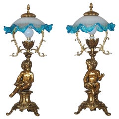 Pair of Solid Brass Cherub Table Lamps Art Nouveau Style, circa 1920