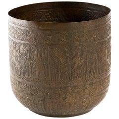 Antique Engraved Brass Indian Vessel Jardinière