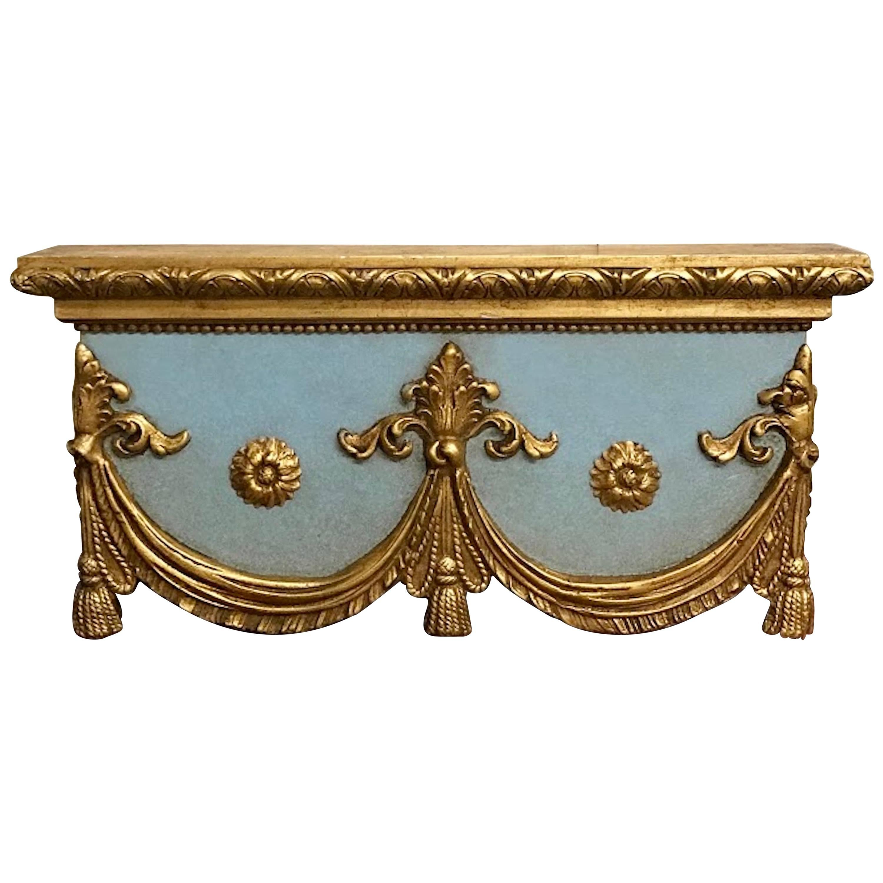 Superieur Italian Carved, Robinu0027s Egg Blue And Gilt Neoclassical Window Cornice For  Sale