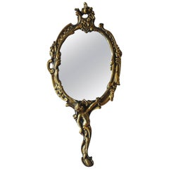 19th Century French Art Nouveau Gilt Bronze Hand Mirror Faceted Nostalgia Mirror