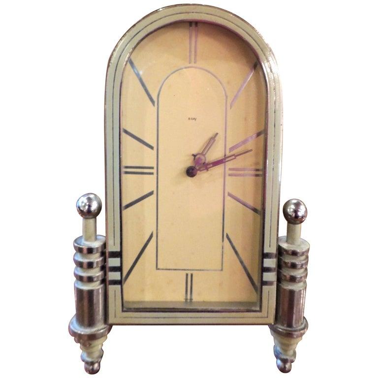 Art Deco Enamel and Chrome 8 Day Clock
