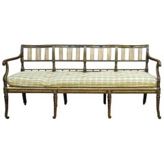 19th Century English Regency Painted and Parcel-Gilt Bench Settee