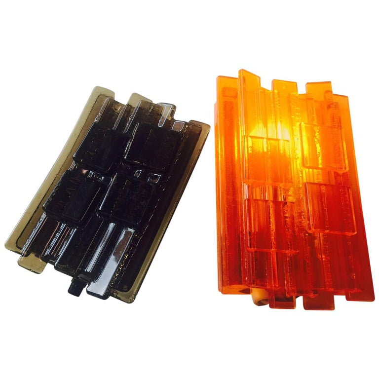 Set of Brutalist Acrylic Sconces by Claus Bolby for Cebo, Denmark, 1970s
