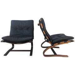 Pair of Black Danish Leather Lounge Chairs