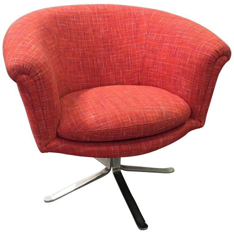 A Shapely Swivel Seat Inspired By Mid Century Design Our: Nicos Zographos Modern Swivel Barrel Chair For Sale At 1stdibs