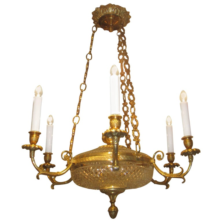 Empire-Style Bronze and Crystal Chandelier with Four Arms For Sale
