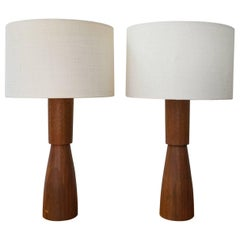 Pair of Turned Walnut Table Lamps, 1960s