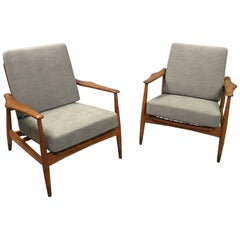 Pair of Danish Modern Lounge Chairs by Finn Juhl for John Stuart