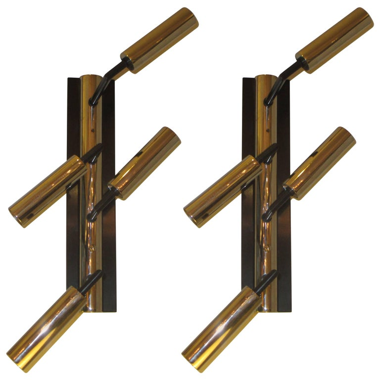 Pair of Custom Four-Arm Bronze and Nickel Plated Sconces