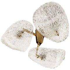 J.T. Kalmar Flush Mount Light 'Trivon', Brass and Textured Glass, Austria, 1960