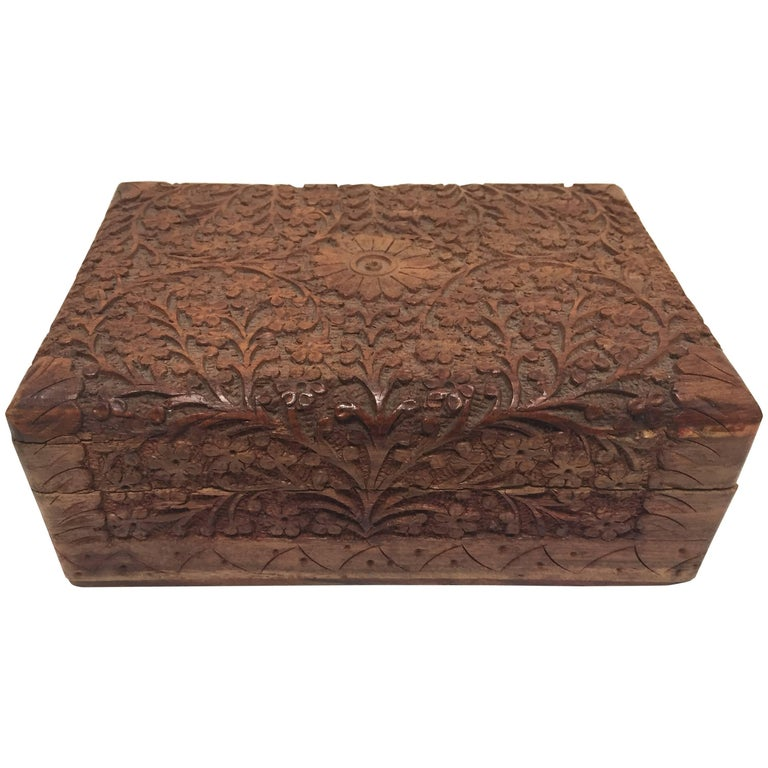 Anglo Raj Hand-Carved Decorative Jewelry Box For Sale