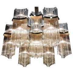 Gaetano Sciolari Mid-Century Modern Brass & Glass Rod Chandelier for Lightolier