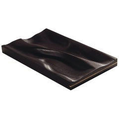 Contemporary Carved Walnut Ebonized Tray with Brass Accent