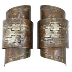 1970s Modern Perforated Brass Sconces
