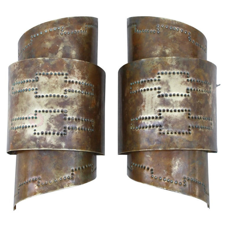 1970s Modern Perforated Brass Sconces 1