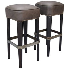 Pair of 1930s Rancho Style Upholstered Leather Bar Stools