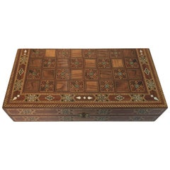 Mosaic Syrian Backgammon and Chess Wooden Inlaid Marquetry Box Game
