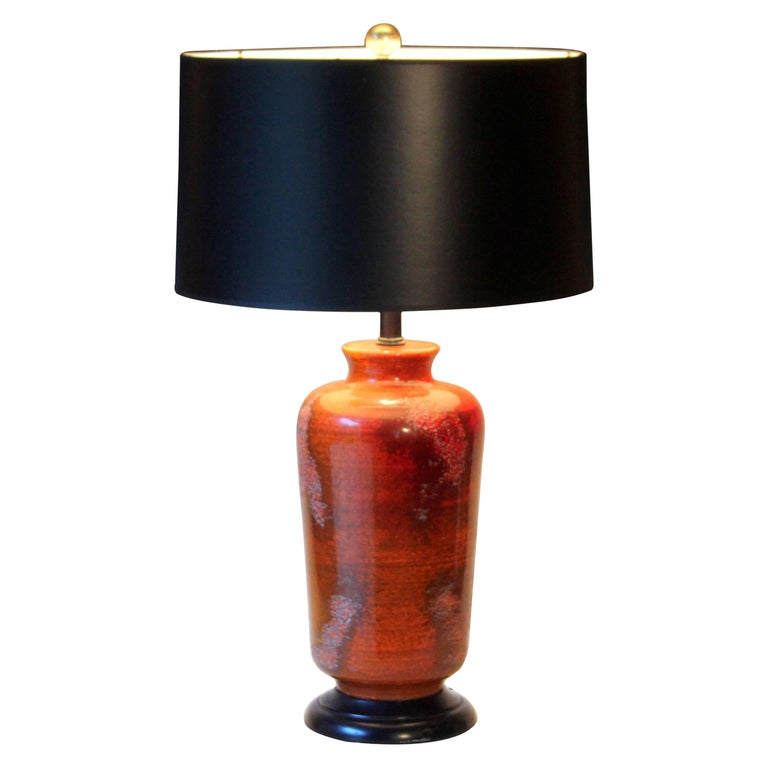 Vintage Haeger Orange Red Etruscan Lava Chinese Decor Lamp At 1stdibs