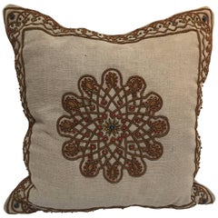 Throw Decorative Accent Pillow Embroidered with Moorish Metallic Threads Design