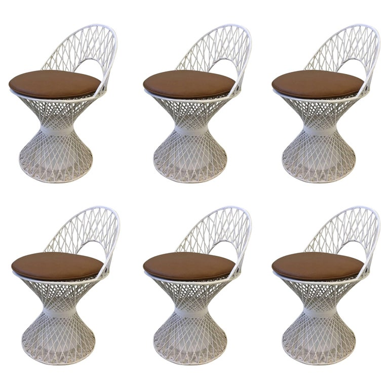 Set of Six Outdoor White Fiberglass Dining Chairs by Russell Woodard For Sale
