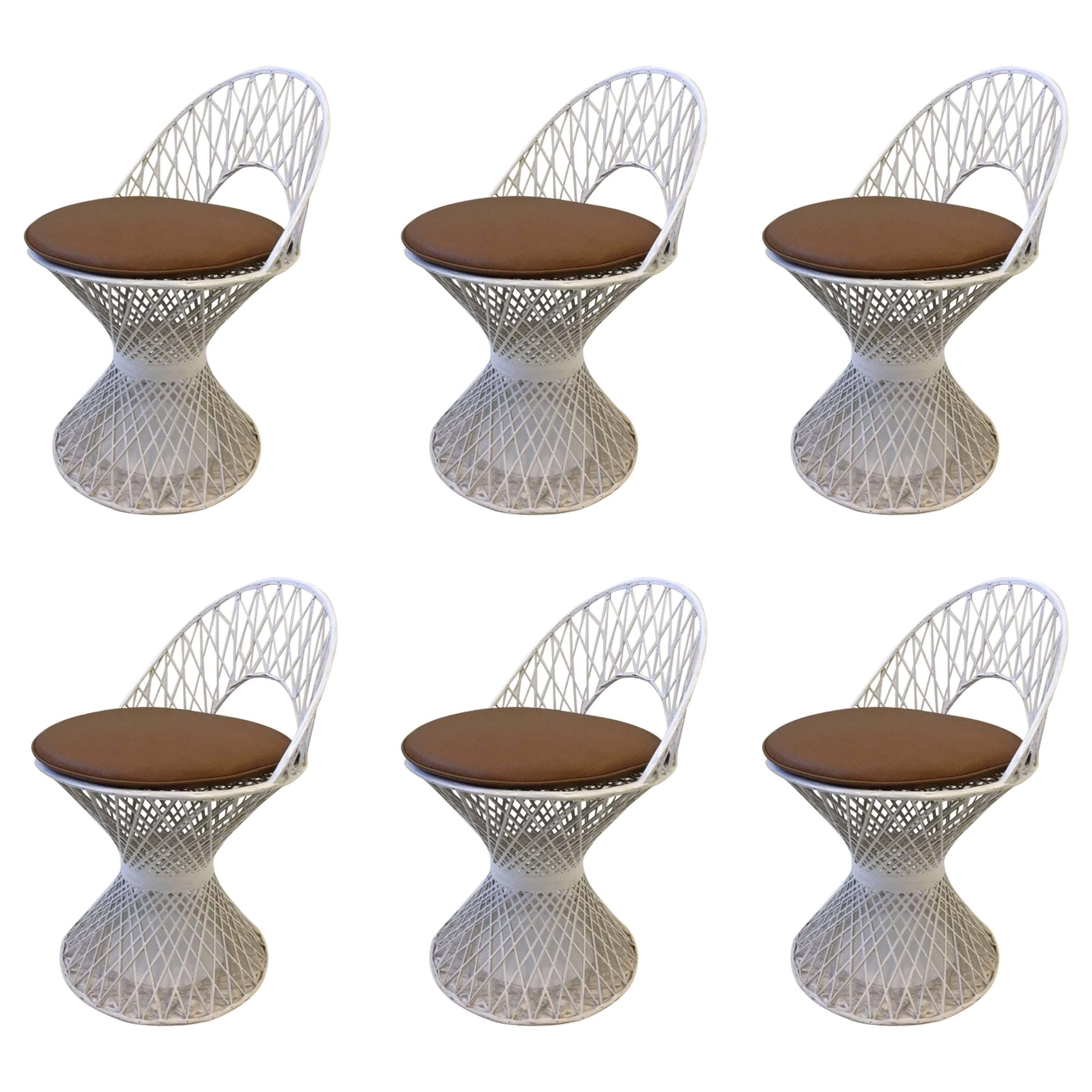 Set Of Six Outdoor White Fiberglass Dining Chairs By Russell Woodard
