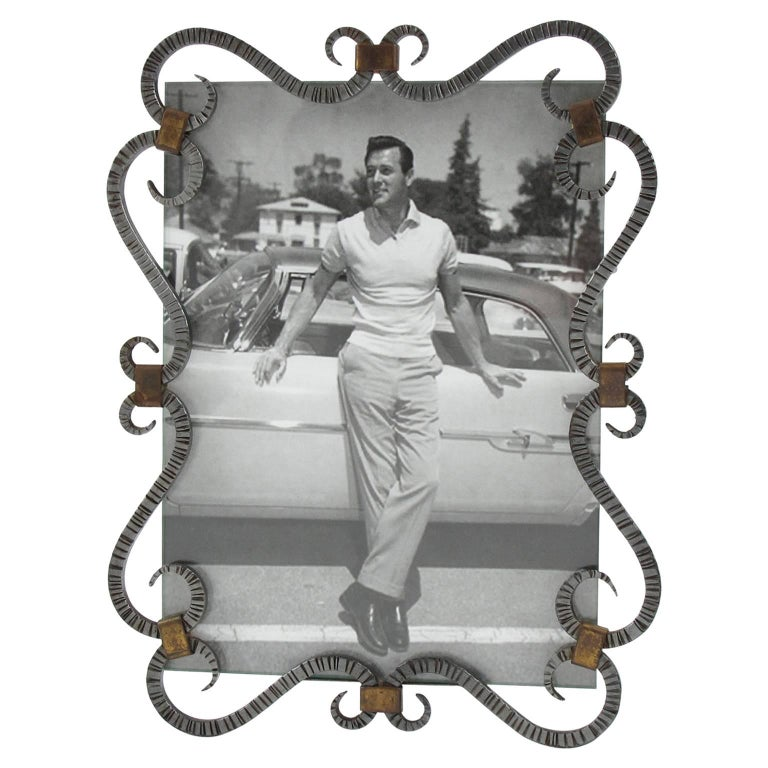 French Mid-Century Modernist Cast Iron Picture Photo Frame, circa 1940s