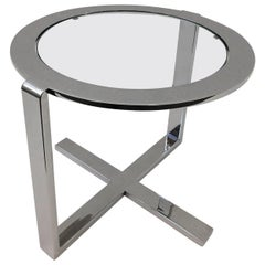 Polished Nickel and Glass Side Table