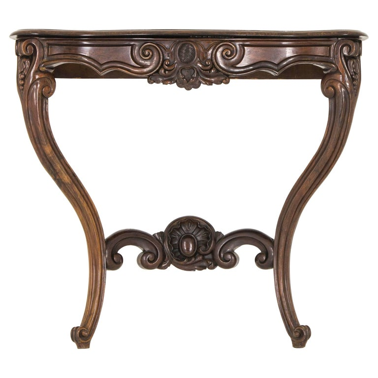 Antique Console Table Carved Rosewood, French, 1880
