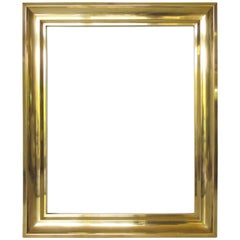 Mid-Century Modern Solid Brass Frame for Painting or Drawing, France circa 1940s