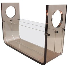 Smoked Lucite Magazine Rack Stand for Roche Bobois, France, circa 1970s
