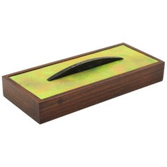 Mid-Century Modern Rosewood and Enamel Box by Gio Ponti for Paolo de Poli, 1950s