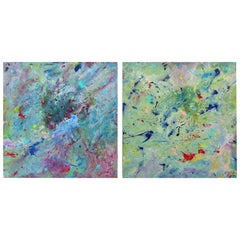 Diptych Abstract Paintings by Brazilian Artist Sandro War
