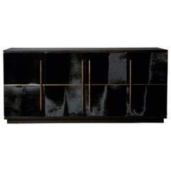 Raven Credenza Cabinet with Velvet Calf, Blackened Oak by Christina Z Antonio