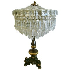 French Crystal Three-Light Table Lamp Candelabra in Empire Style