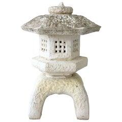 Japanese Cast Stone Pagoda Lantern Sculpture, Three Pieces