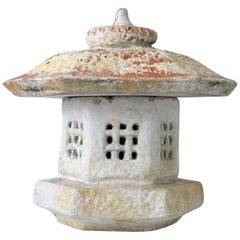 Vintage Japanese Cast Stone Two-Piece Pagoda Lantern Sculpture