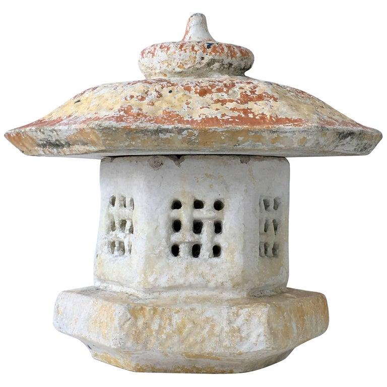 Vintage Japanese Cast Stone Two-Piece Pagoda Lantern Sculpture