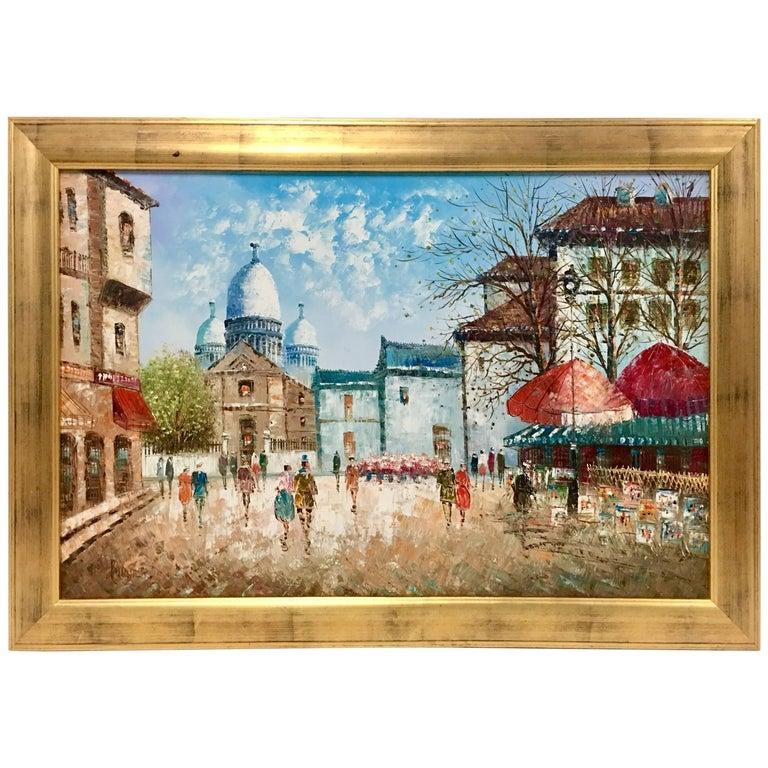 """Mid-Century Original Oil On Canvas Painting """"Paris Street Scene"""" Signed, Burnett"""