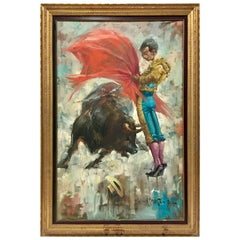 "Mid-20th Century Original Oil On Canvas Painting ""Matador"" By, V. Marchetti"