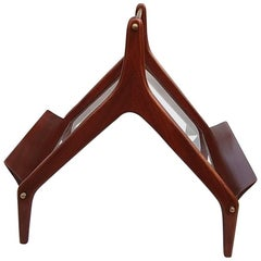 Elegant Mahogany and Glass Magazine Rack, Italy, 1960s