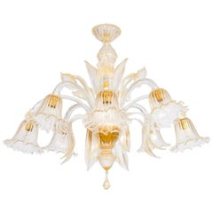 Italian Chandelier in Murano Glass and 24-Karat Gold, 1990s